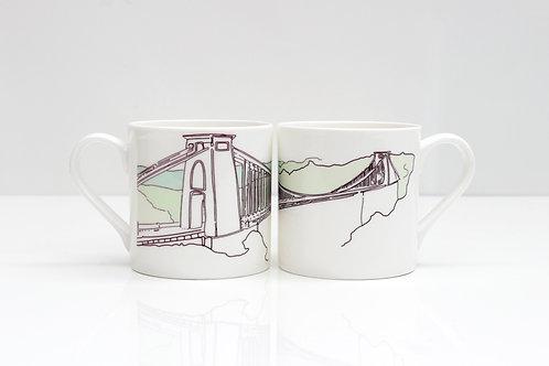 Minimal Suspension Bridge Bone China Mug