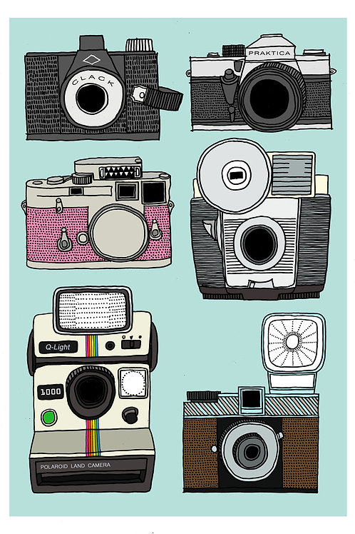 Cameras Print - A4 & A3 size