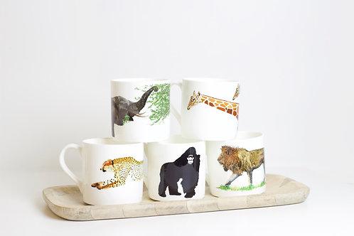 Set of African Animal Bone China Mugs