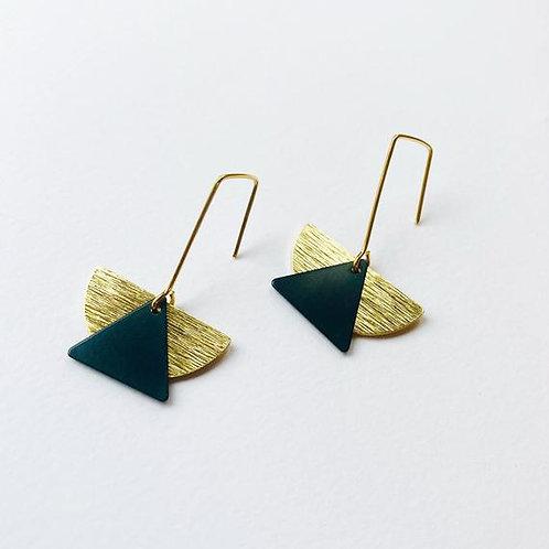 Textured Brass & Black half moon earrings