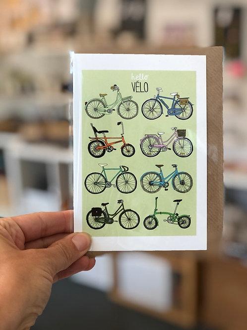 Hello Velo Bike Greetings Card