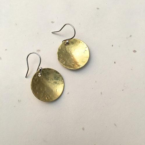Brass Disk Earrings