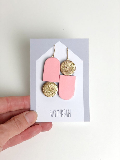 Totem Earrings - Pink/Gold