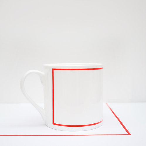 Red Line - Rectangle Bone China Mug