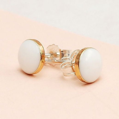 Tiny Everyday White and Gold Studs