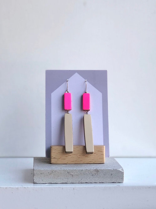 Hot Pink & Nude Long Block Hook Earrings