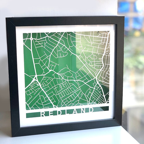 Redland - black frame, white roads, green background