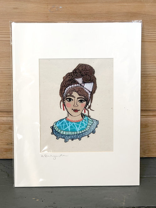 Embroidered & hand painted Portrait