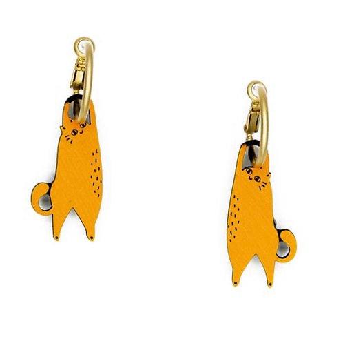 Hanging Cat Ginger Earrings