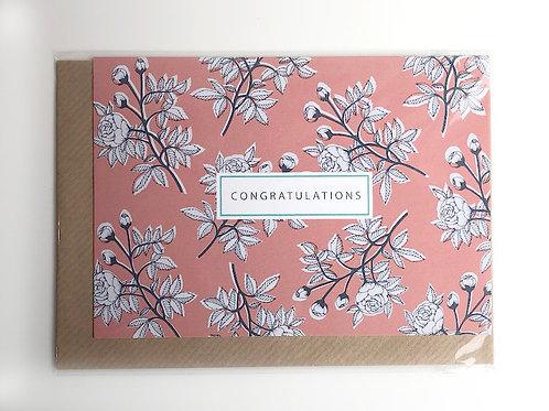 Pink Rose Congrats Card