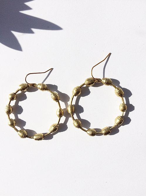 Bead Hoop handmade paper earrings