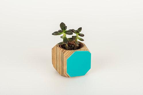 Small Turquoise Geo Planter
