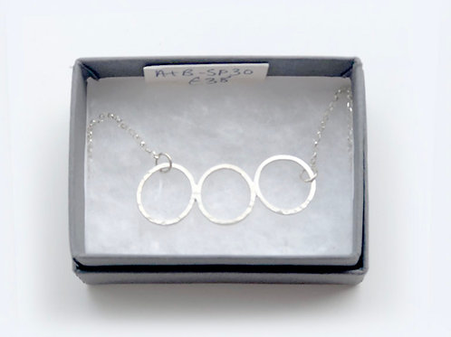 Three Lace Printed Silver Circle Necklace