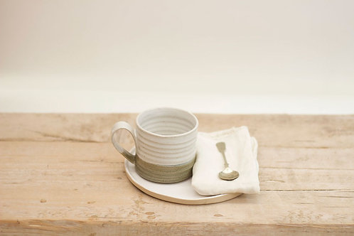 White & Green Glaze Mug