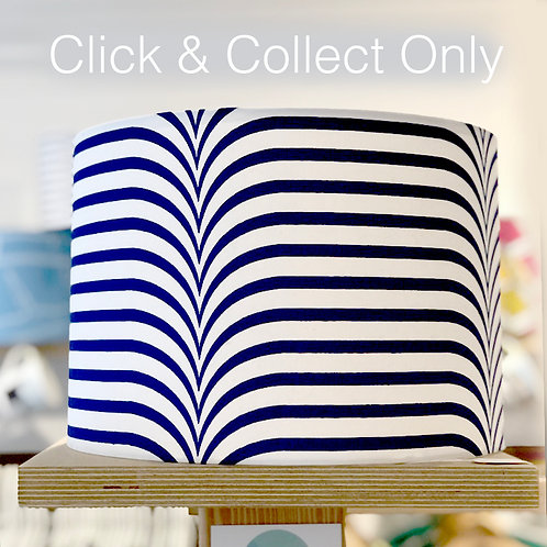 African Navy/White Stripe Print Lampshade