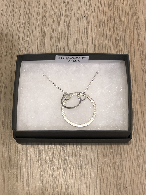 Two connecting silver circle necklace