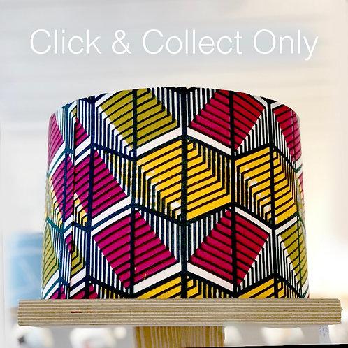 Scarlet/Yellow Geometric African Wax Print Lampshade