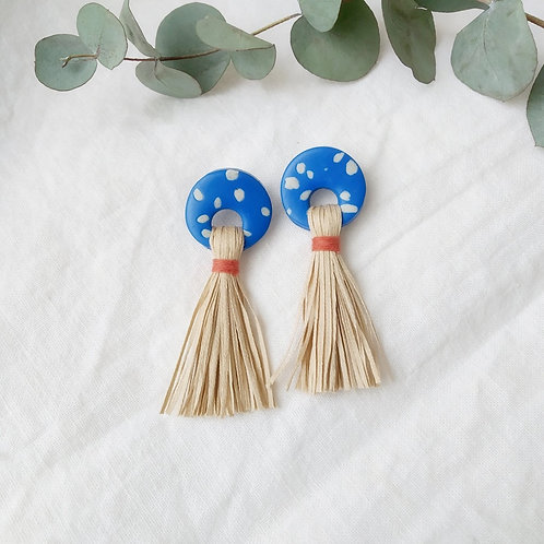 Blue Spotted Earrings with Cotton Tassel