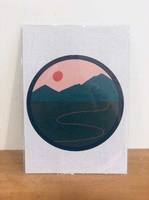 Circular Mountain Print - A4