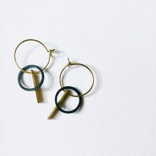 Black & Gold Brass Hoop Earrings