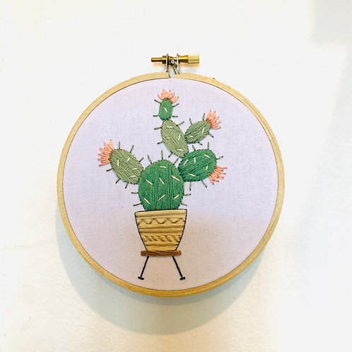 Prickly Cactus Embroidery Hoop