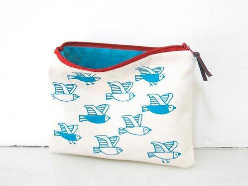 Birds Zipper Pouch - Blue