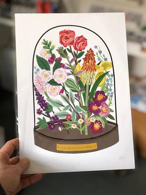 Country Garden Bell Jar Print - A4