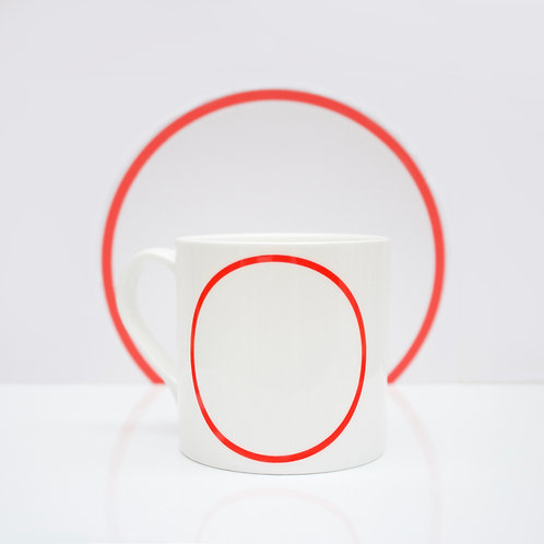 Red Line - Circle Bone China Mug