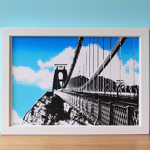 Blue Clifton Suspension Bridge A4 Print (Unframed)