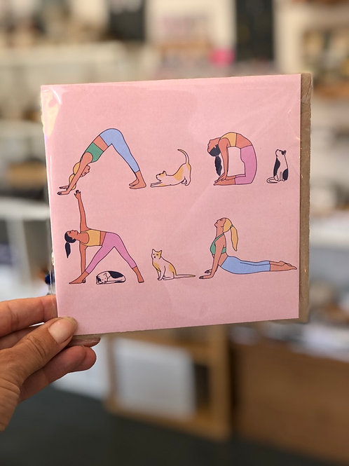 Yoga and Cats Card