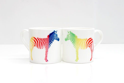 Rainbow Zebra Bone China Mug