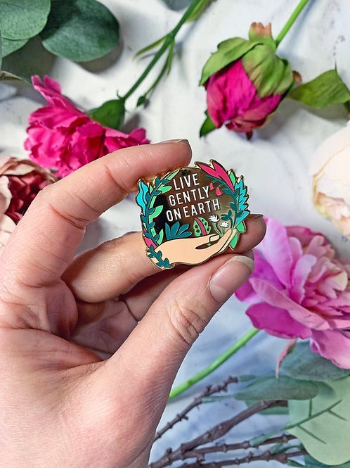 'Live Gently on Earth' Enamel Pin