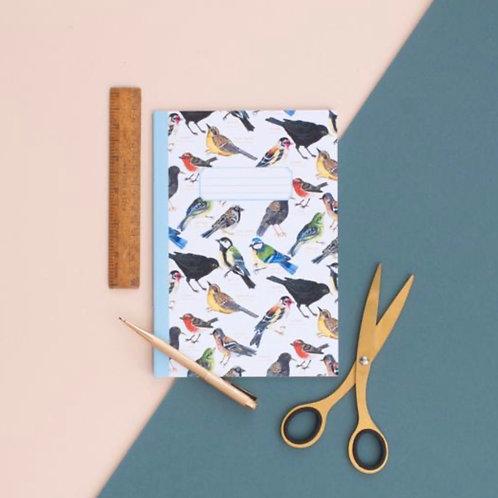 British Garden Birds Pattern A5 Notebook
