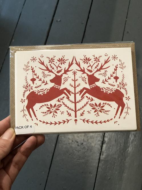 Reindeer pack of 4 cards