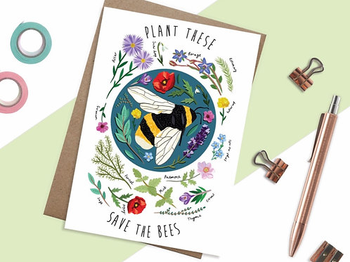 Plant these, save the bees Card