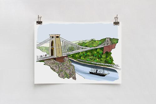 ss Great Britain & Suspension Bridge Digital A4 Print
