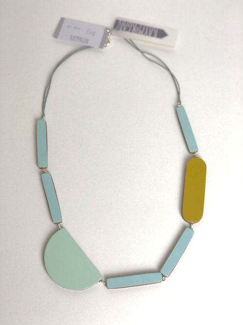 Block Leather Necklace - Blue/Olive