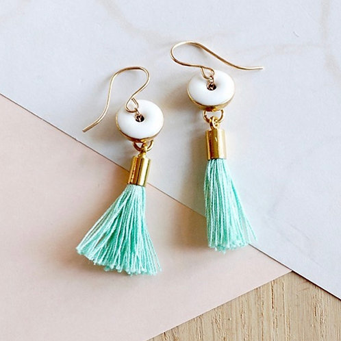 Brass Earrings with Turquoise tassel & white charm