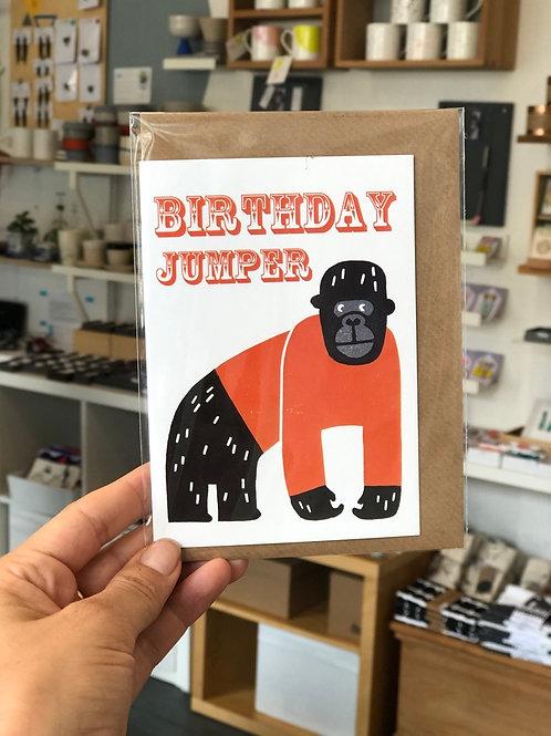 Birthday Jumper Gorilla Card
