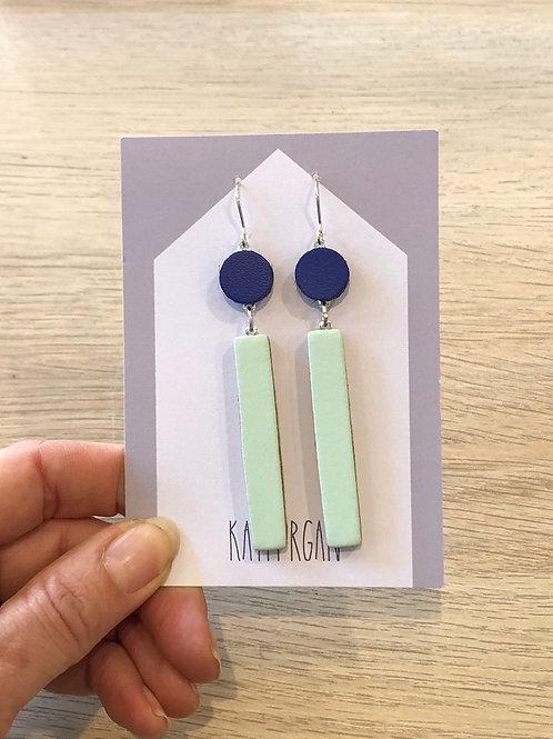 Long Block Earring - Navy/Blue