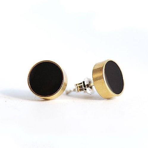 Circle Stud Earrings - Charcoal
