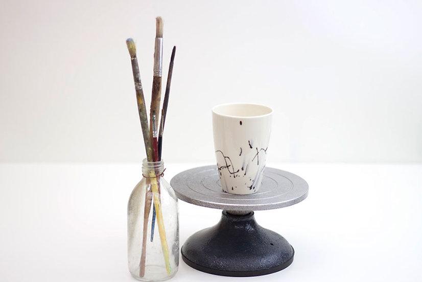 Black Ink Porcelain Beaker