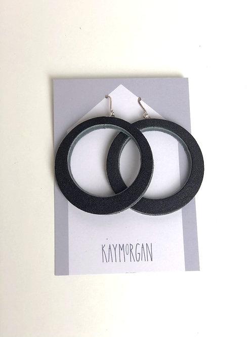 Large Hoop Earrings - Black