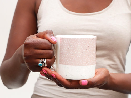 Sgraffito Pink Sunset Bone China Mug