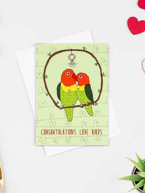 Love birds engagement card