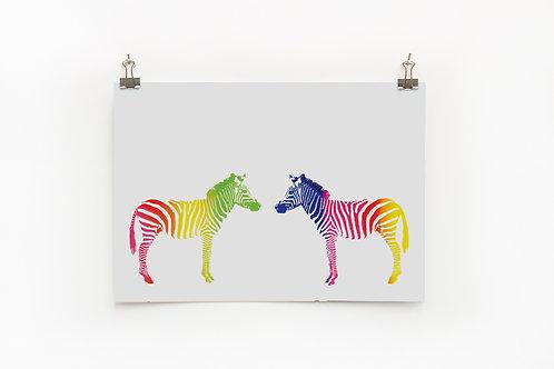 Rainbow Zebra A4 Print