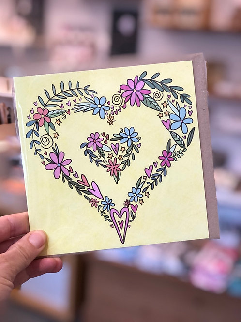 Love Heart Flowers Card