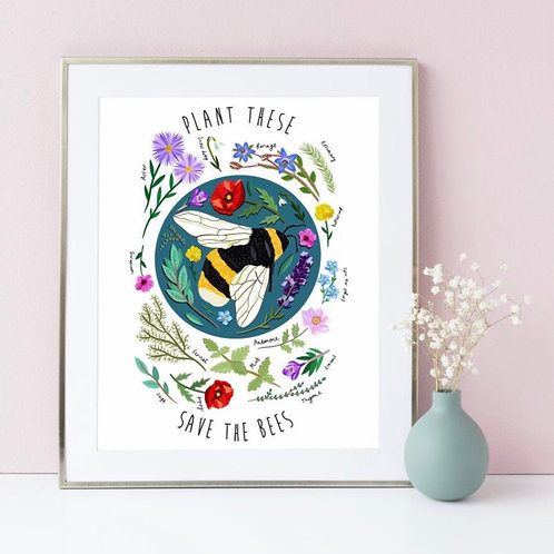 Plant these, Save the bees Print (Unframed)