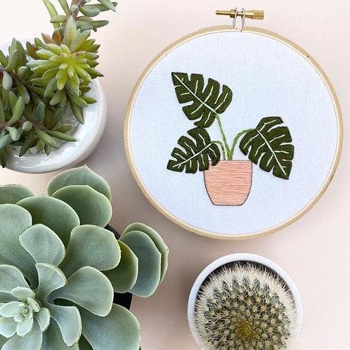 Monstera Embroidery Hoop