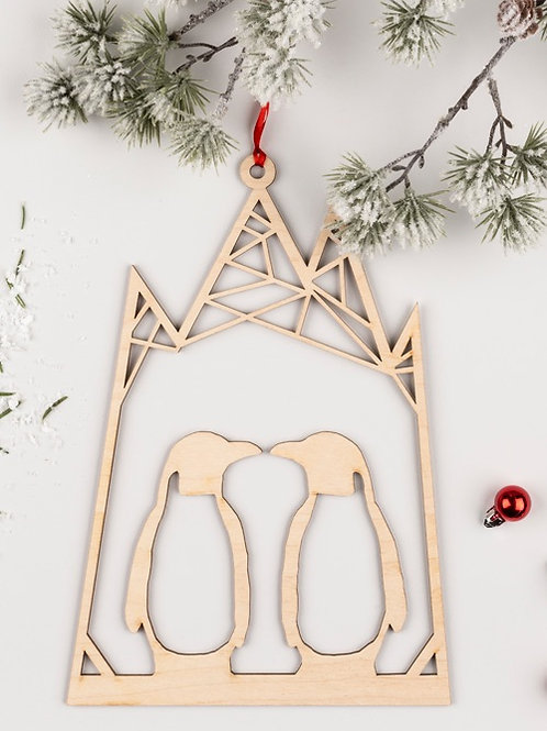 Wooden Penguin Christmas Wreath